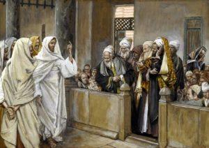Jesus und die Juden streiten im Tempel